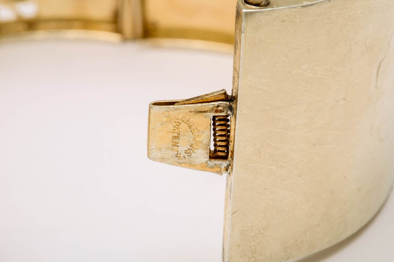 Antique Victorian Silver Gilt Bangle Bracelet For Sale 1