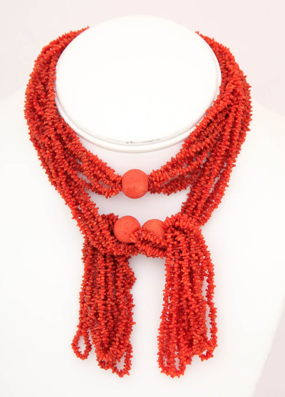Georgian Hand Carved Natural Coral Bead Tassel Lariat 2
