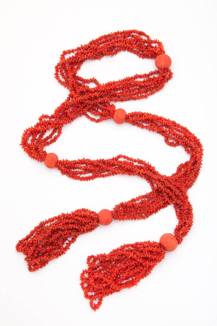 Georgian Hand Carved Natural Coral Bead Tassel Lariat 3
