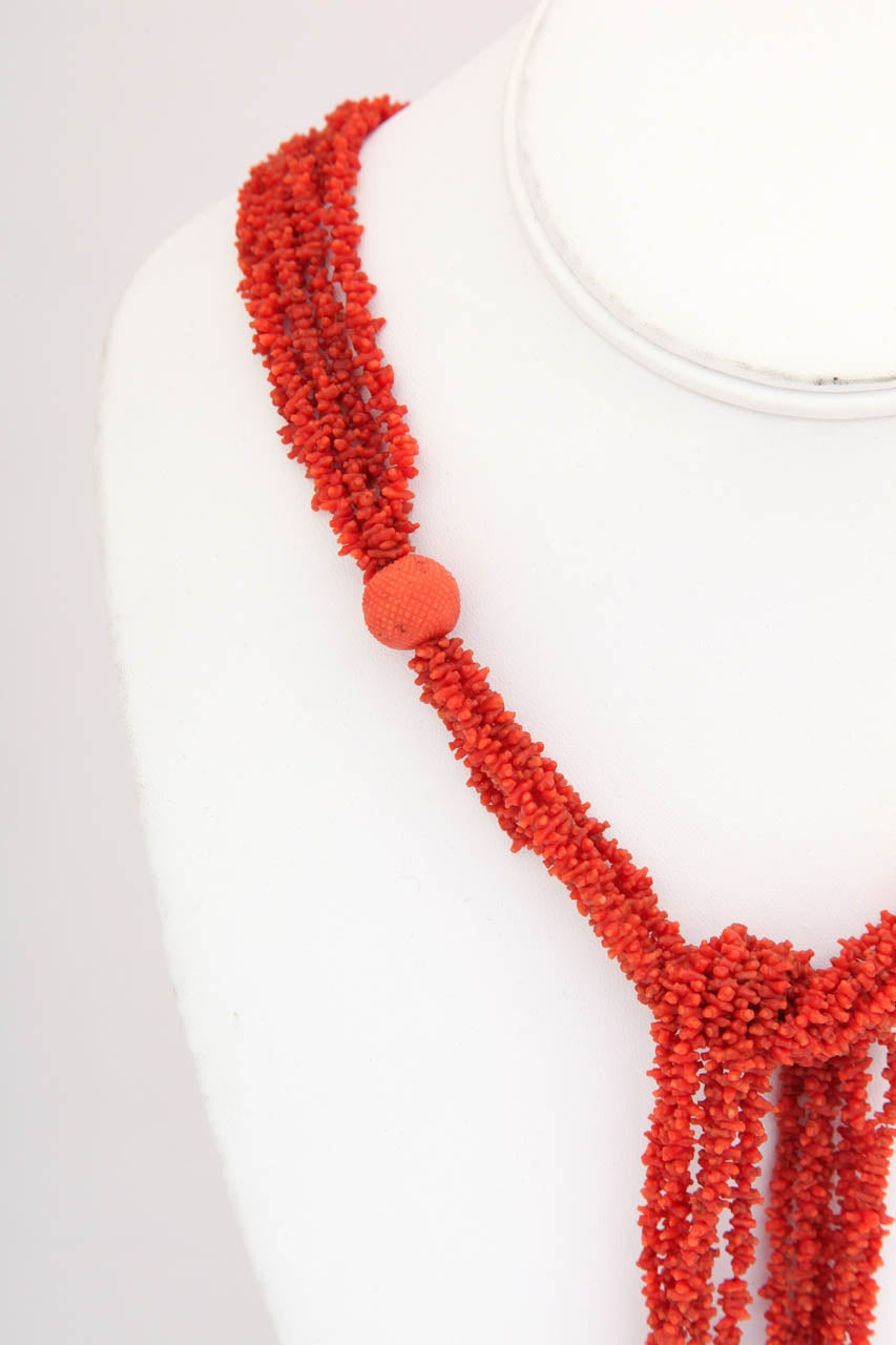 Georgian Hand Carved Natural Coral Bead Tassel Lariat 4