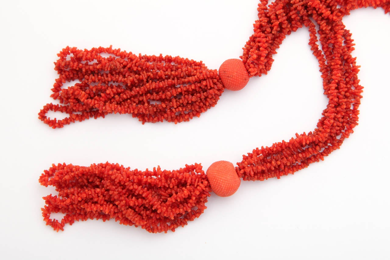 Georgian Hand Carved Natural Coral Bead Tassel Lariat 6
