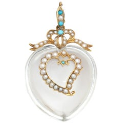 Victorian Pure Rock Crystal Natural Pearl Turquoise Double Heart Pendant