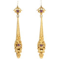 Antique Georgian Pinchbeck Chandelier Torpedo Earrings