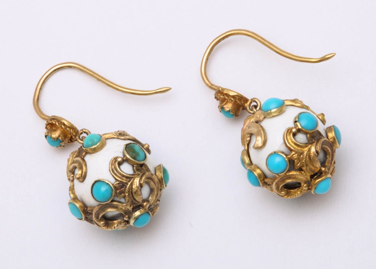Eternal Summer: Victorian Enamel Turquoise Earrings In Excellent Condition For Sale In Hastings on Hudson, NY