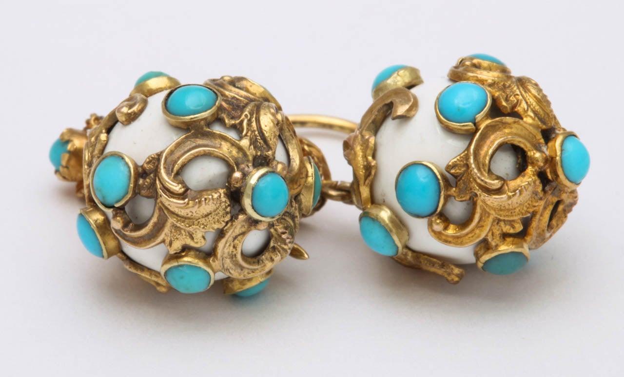 Eternal Summer: Victorian Enamel Turquoise Earrings 4