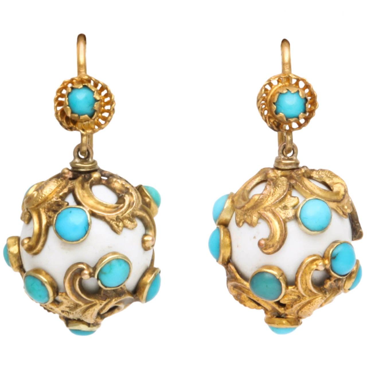 Eternal Summer: Victorian Enamel Turquoise Earrings 1