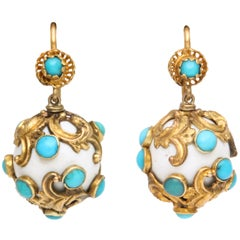Eternal Summer: Victorian Enamel Turquoise Earrings