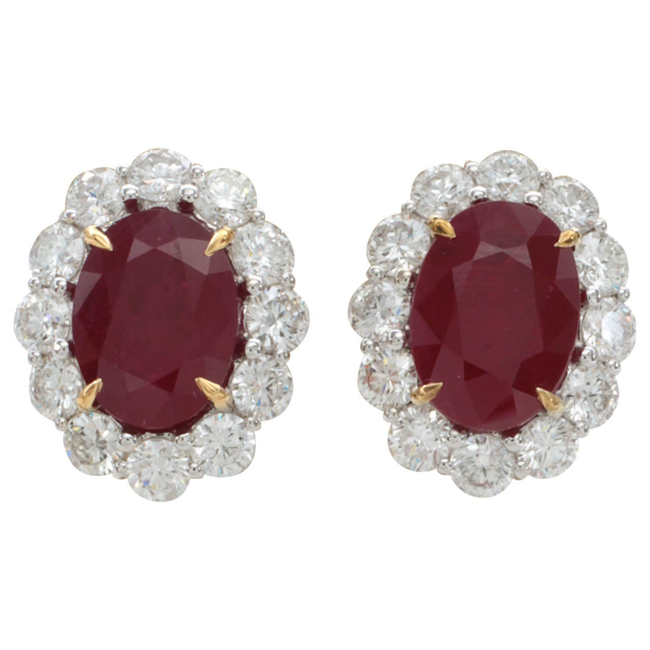 Rare Burma Ruby Diamond Earrings For Sale At 1stdibs