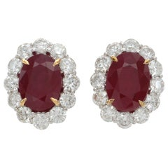 Rare Burma Ruby Diamond Earrings