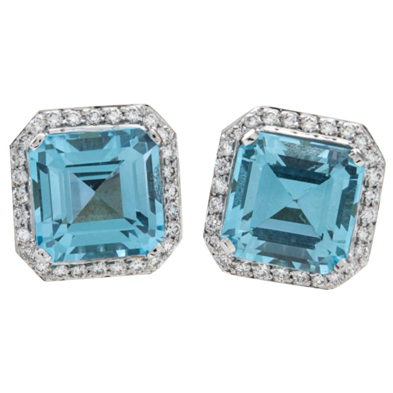Stunning Blue Topaz Squared Diamond Earrings For Sale At