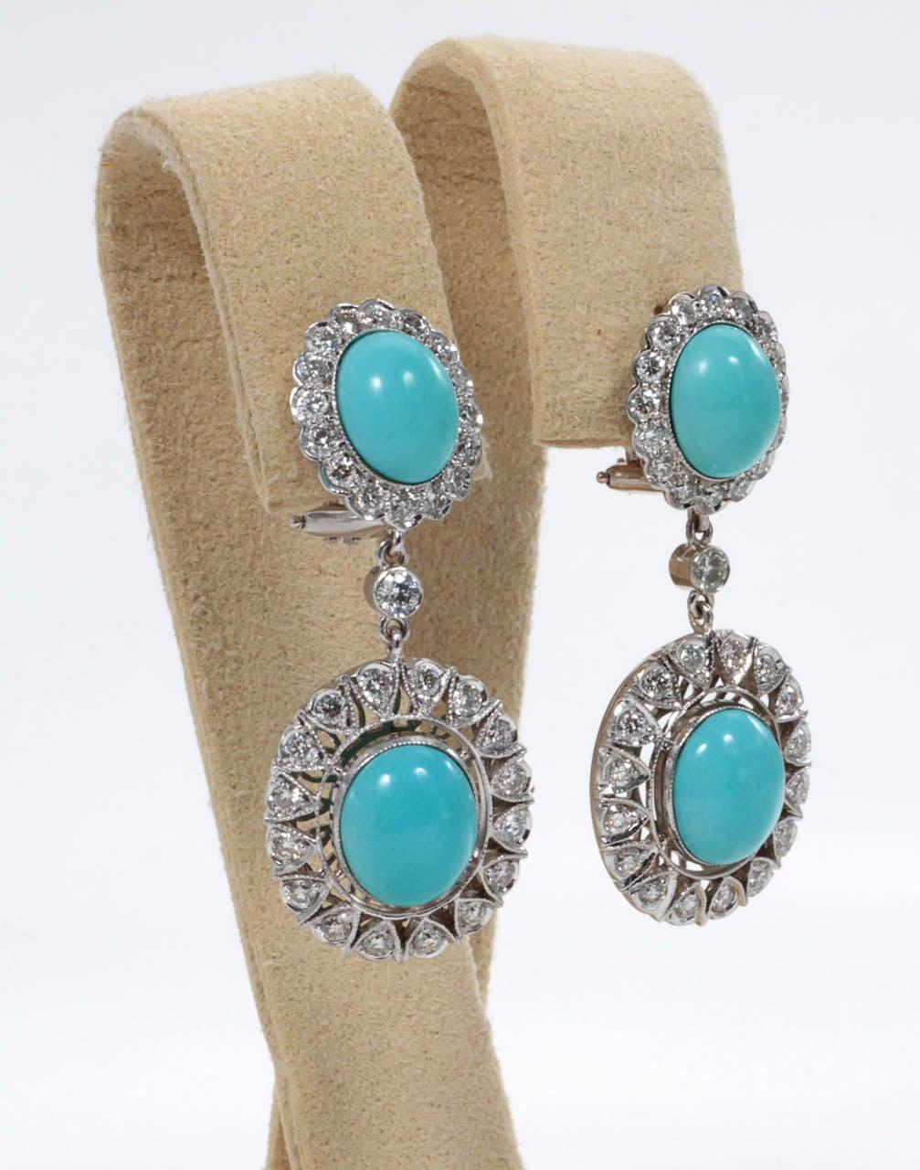 Elegant Natural Turquoise Diamond Drop Earrings 3