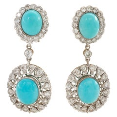 Elegant Natural Turquoise Diamond Drop Earrings