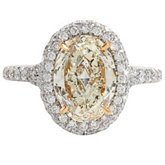 GIA Certified Internally Flawless Light Yellow Oval Diamond Engagement Ring
