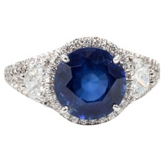 Certified Rare Natural No Heat Round Sapphire Diamond Ring