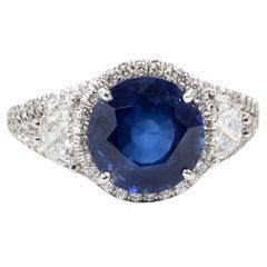 Certified Rare Natural No Heat Round Sapphire Diamond Ring