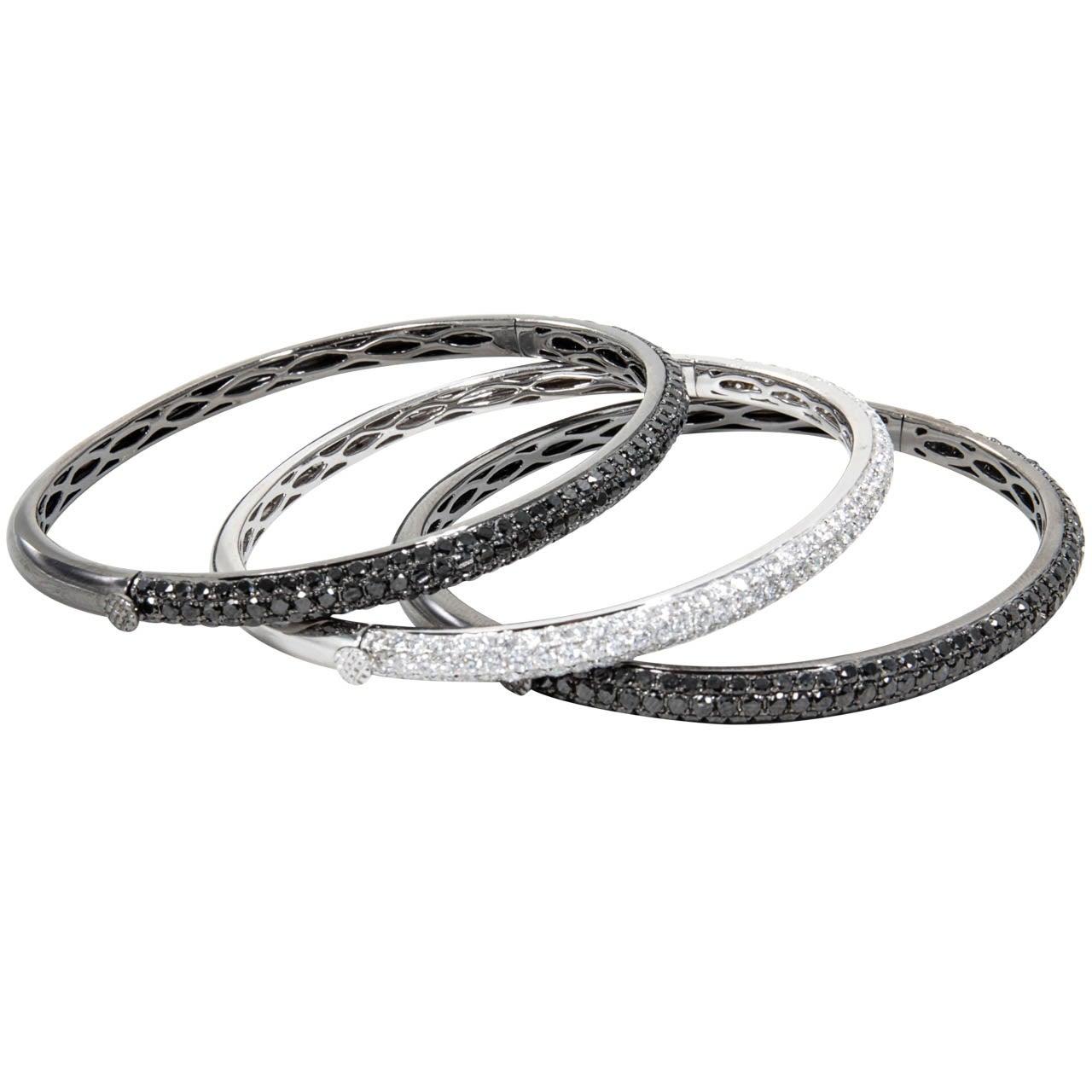 Set of Black and White Diamond Bangle Bracelets