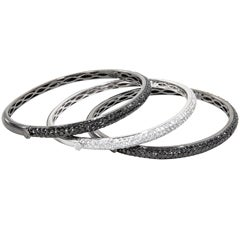 Set of Black and White Diamond Bangle Bracelets
