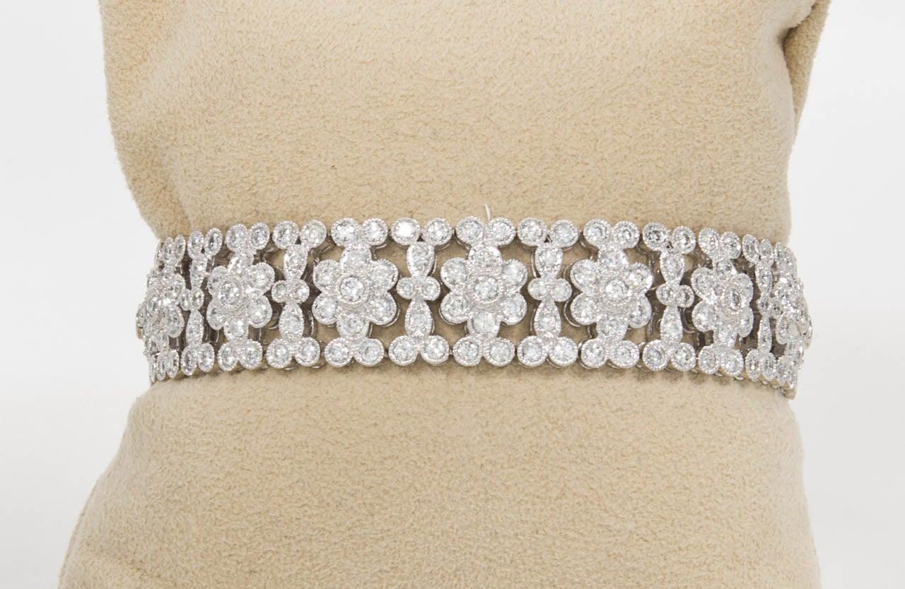 Women's Engraved Diamond Floral Bracelet For Sale