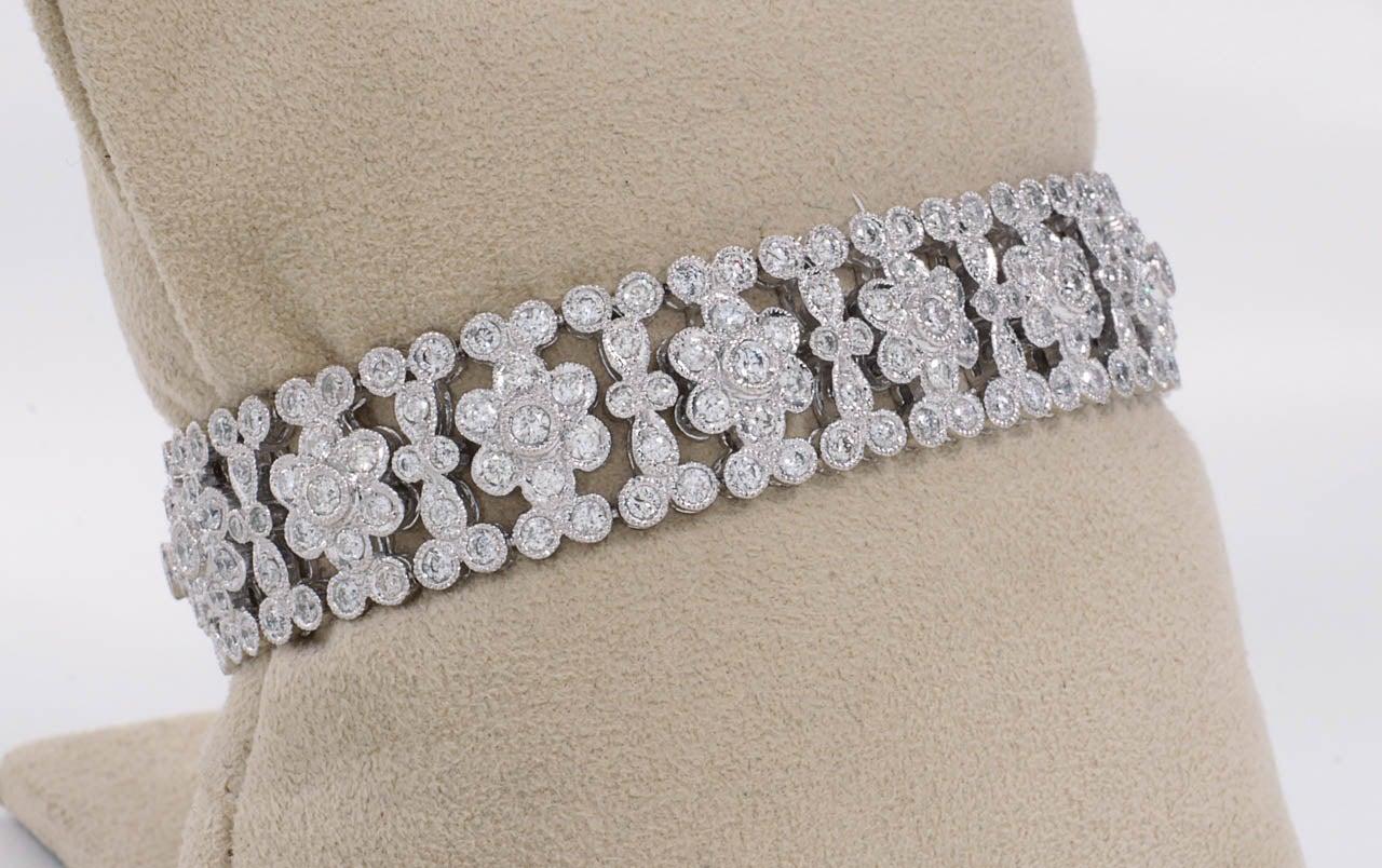 Engraved Diamond Floral Bracelet For Sale 1