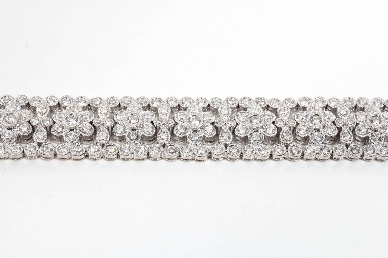 Engraved Diamond Floral Bracelet For Sale 2