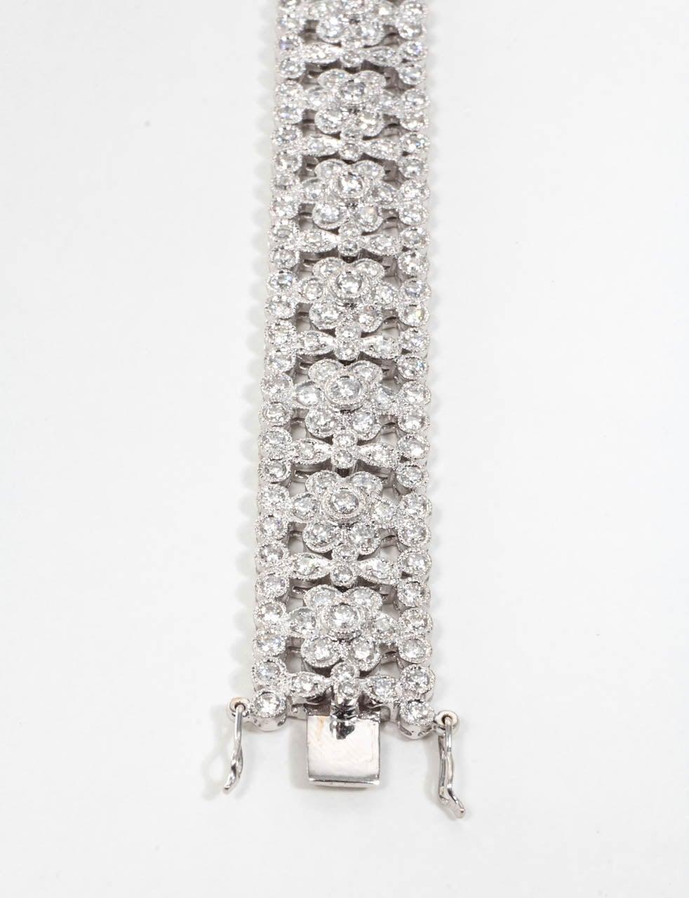 Engraved Diamond Floral Bracelet For Sale 3