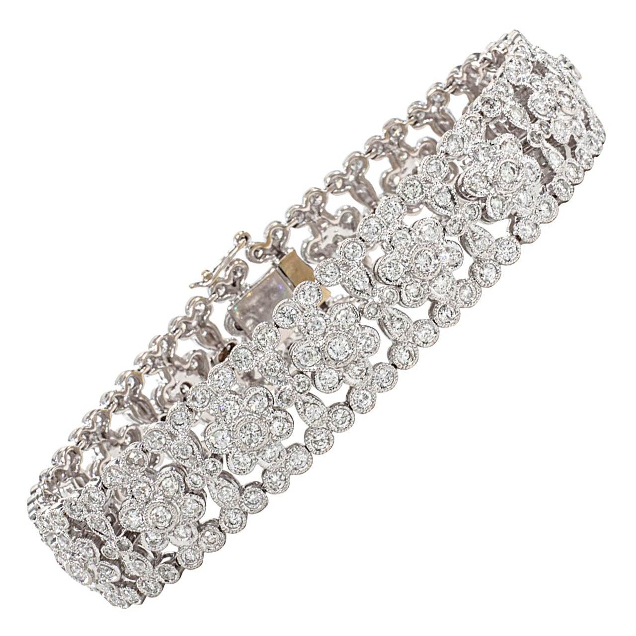 Engraved Diamond Floral Bracelet For Sale