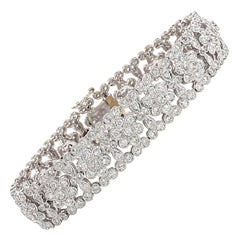 Engraved Diamond Floral Bracelet
