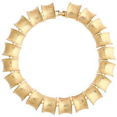 "Gilt ""Bamboo"" Link Necklace, Costume Jewelry"