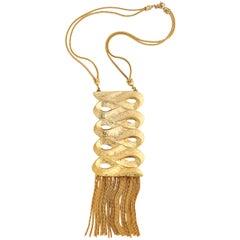 Signed Sandor Scroll Goldtone Necklace, Costume Necklace