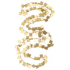 Long Square Goldtone Confetti Necklace, Costume Jewelry
