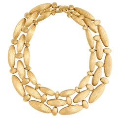Givenchy Brushed Gilt Triple Link Necklace, Costume Jewelry