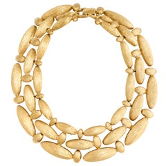 Givenchy Brushed Gilt Triple Link Necklace