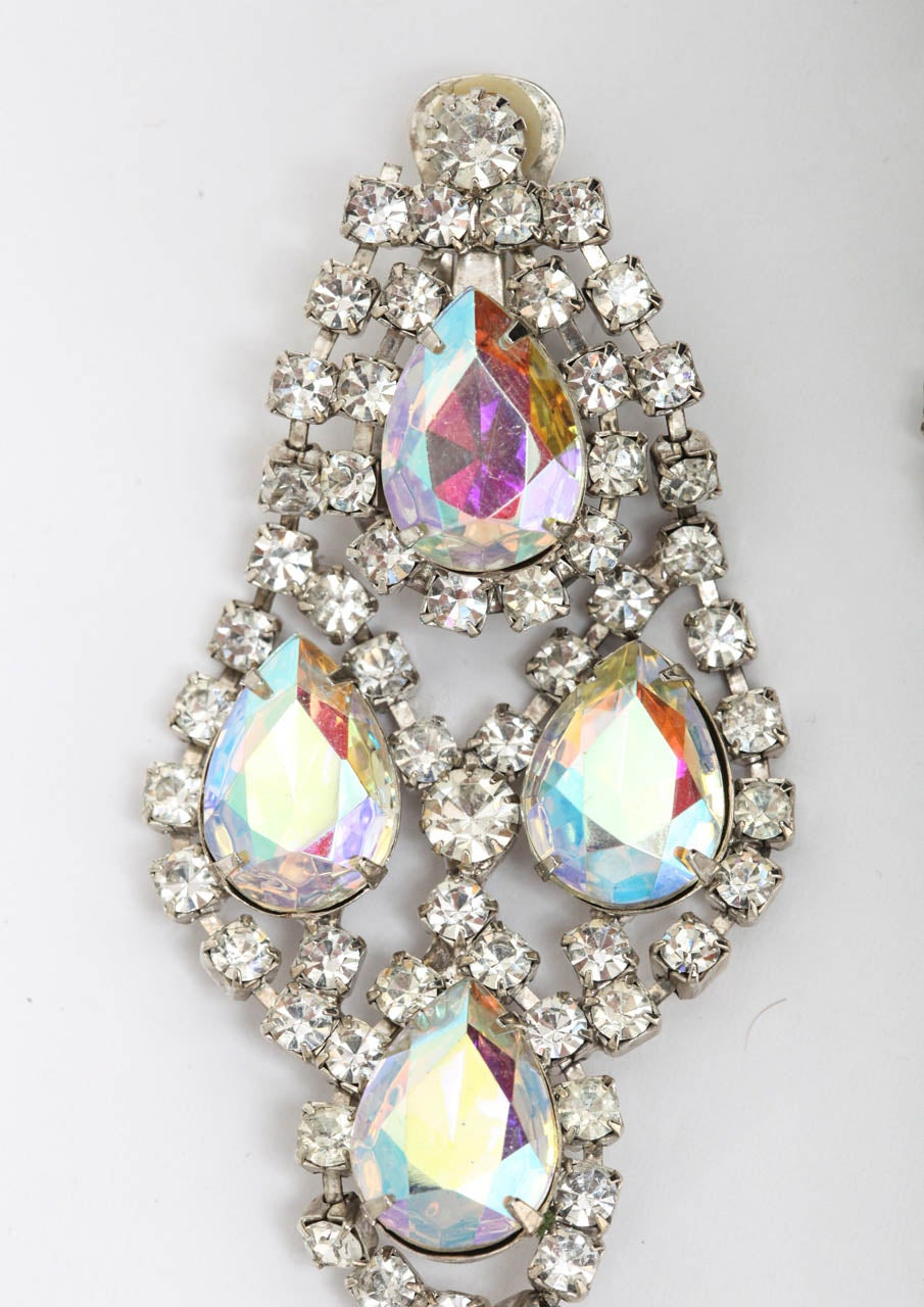 Baroque Revival Huge Rhinestone Earrings, Costume Jewelry For Sale