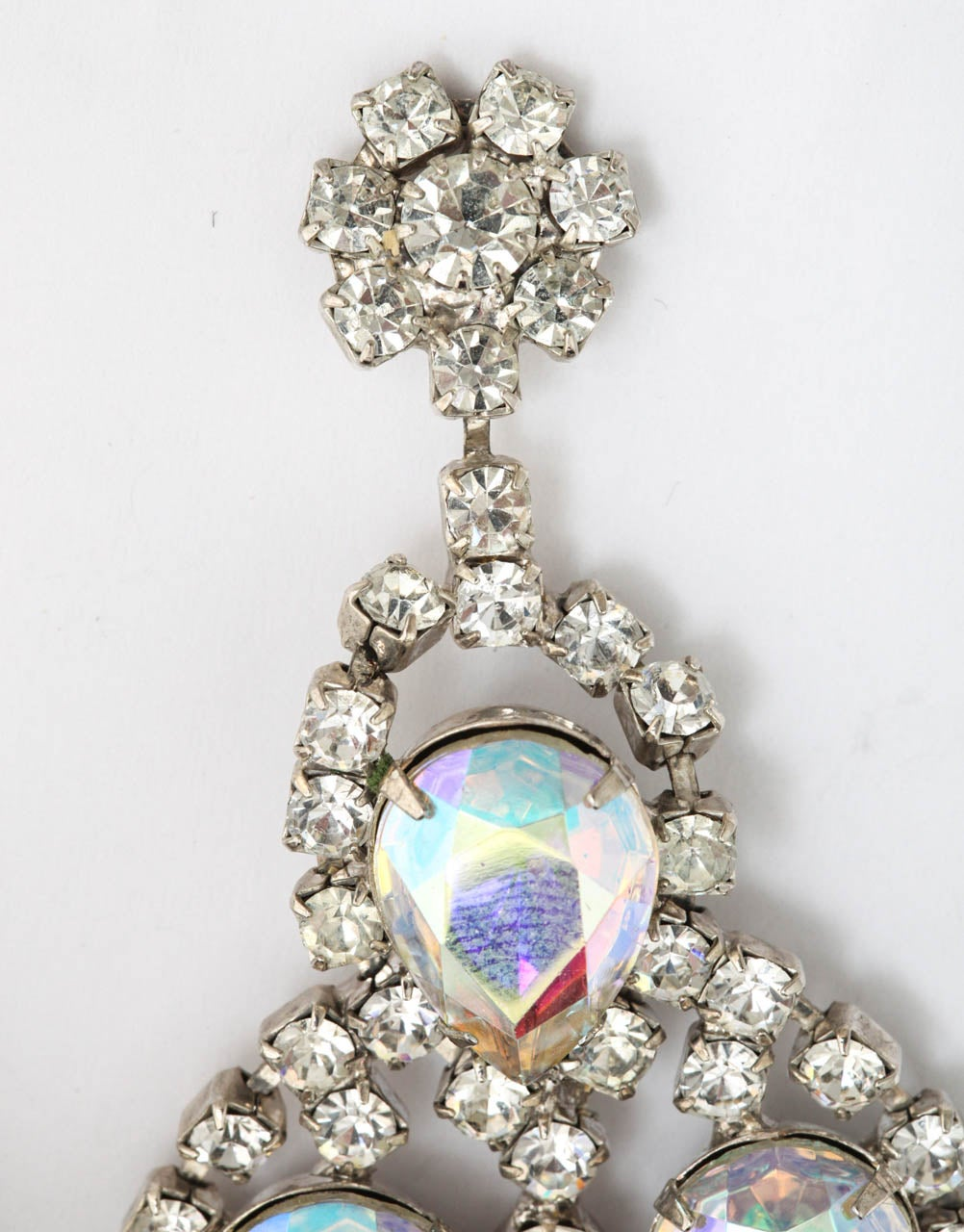 Huge Rhinestone Earrings, Costume Jewelry In Excellent Condition For Sale In Stamford, CT