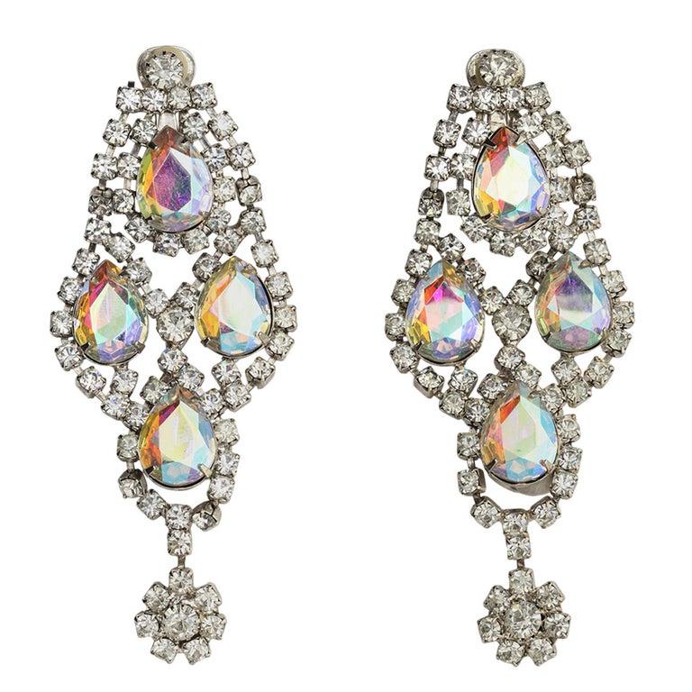 Huge Rhinestone Earrings, Costume Jewelry For Sale