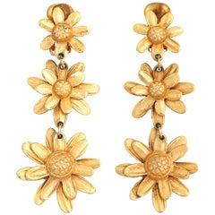 Triple Daisy Dangle Earrings