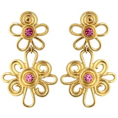 Double Daisy Gold Tone Earrings, Costume Jewelry