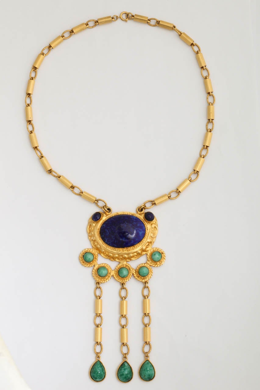 Elaborate Byzantine style faux jade and faux lapis lazuli necklace. Chains are 10