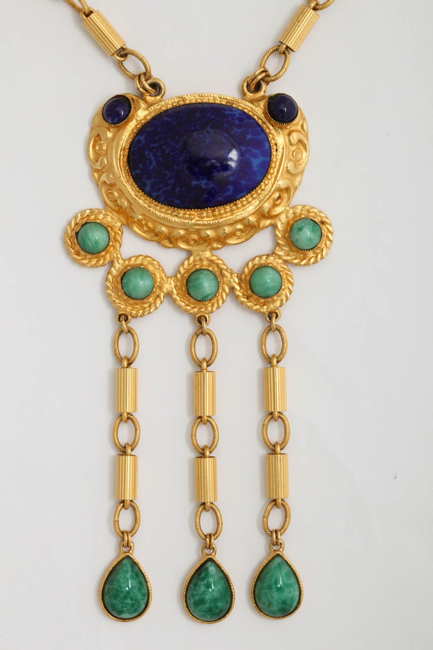 "Gold Tone Byzantine ""Jade"" & ""Lapis"" Necklace In Excellent Condition For Sale In Stamford, CT"