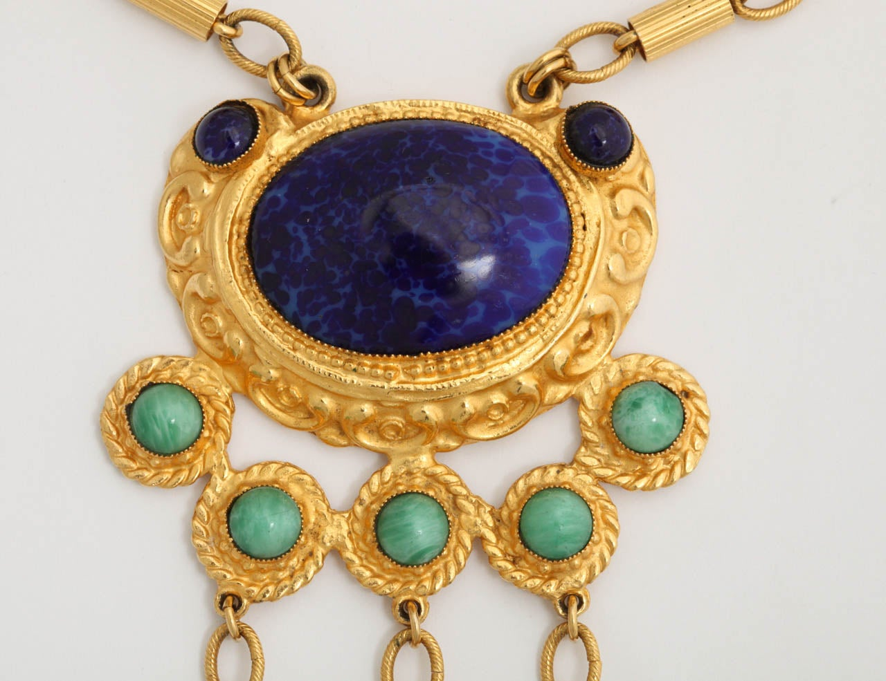 "Women's Gold Tone Byzantine ""Jade"" & ""Lapis"" Necklace For Sale"