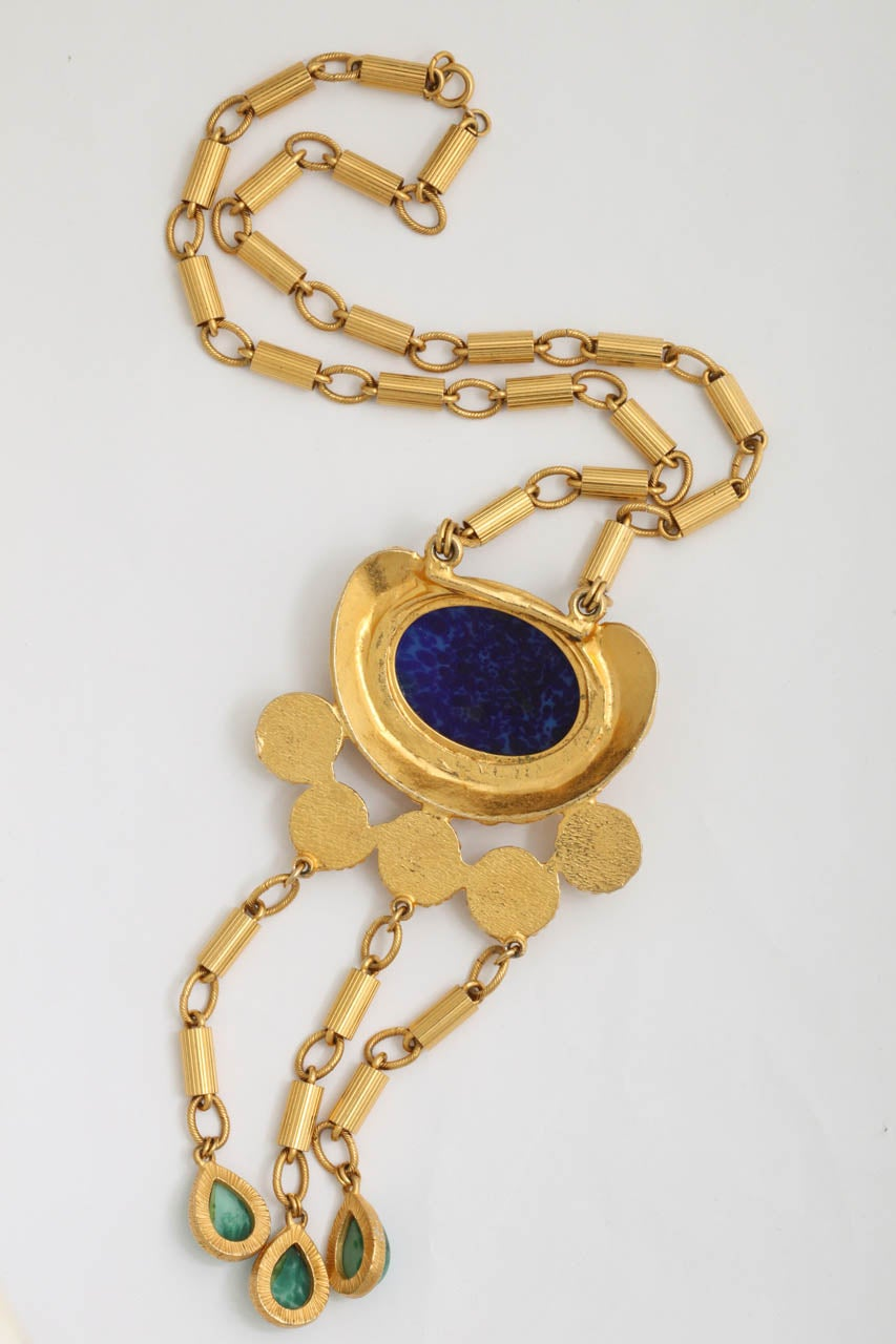 "Gold Tone Byzantine ""Jade"" & ""Lapis"" Necklace For Sale 1"