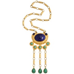 "Gold Tone Byzantine ""Jade"" & ""Lapis"" Necklace, Costume Jewelry"