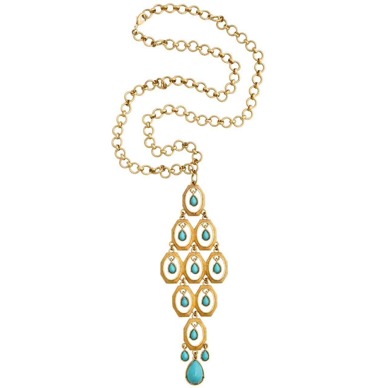"""""""Turquoise"""" Tear Drop Pendant Necklace"""