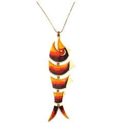 Orange Fish Pendant Necklace