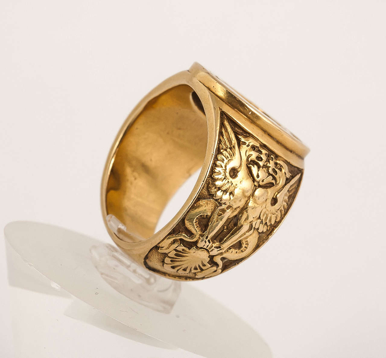 heavy engraved gold signet ring at 1stdibs