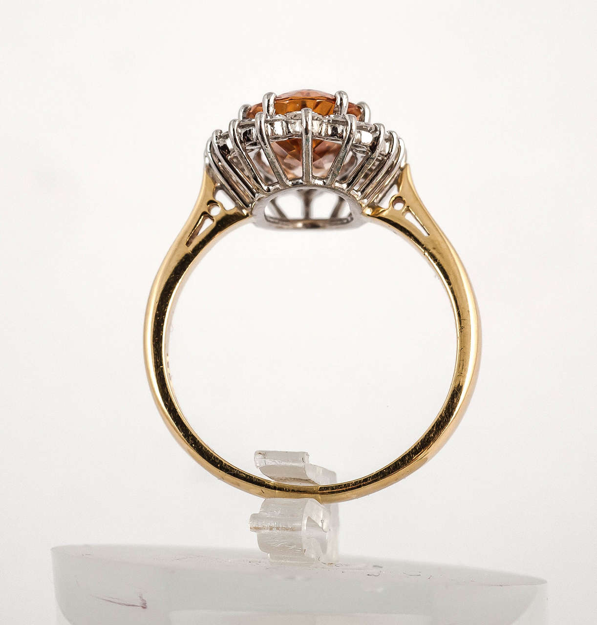 Post-War Imperial Topaz Diamond Gold Cocktail Ring For Sale