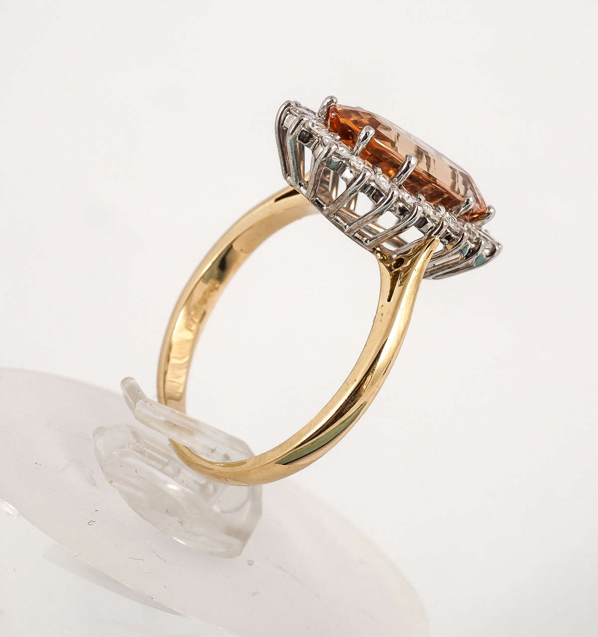 Imperial Topaz Diamond Gold Cocktail Ring In Excellent Condition For Sale In London, GB