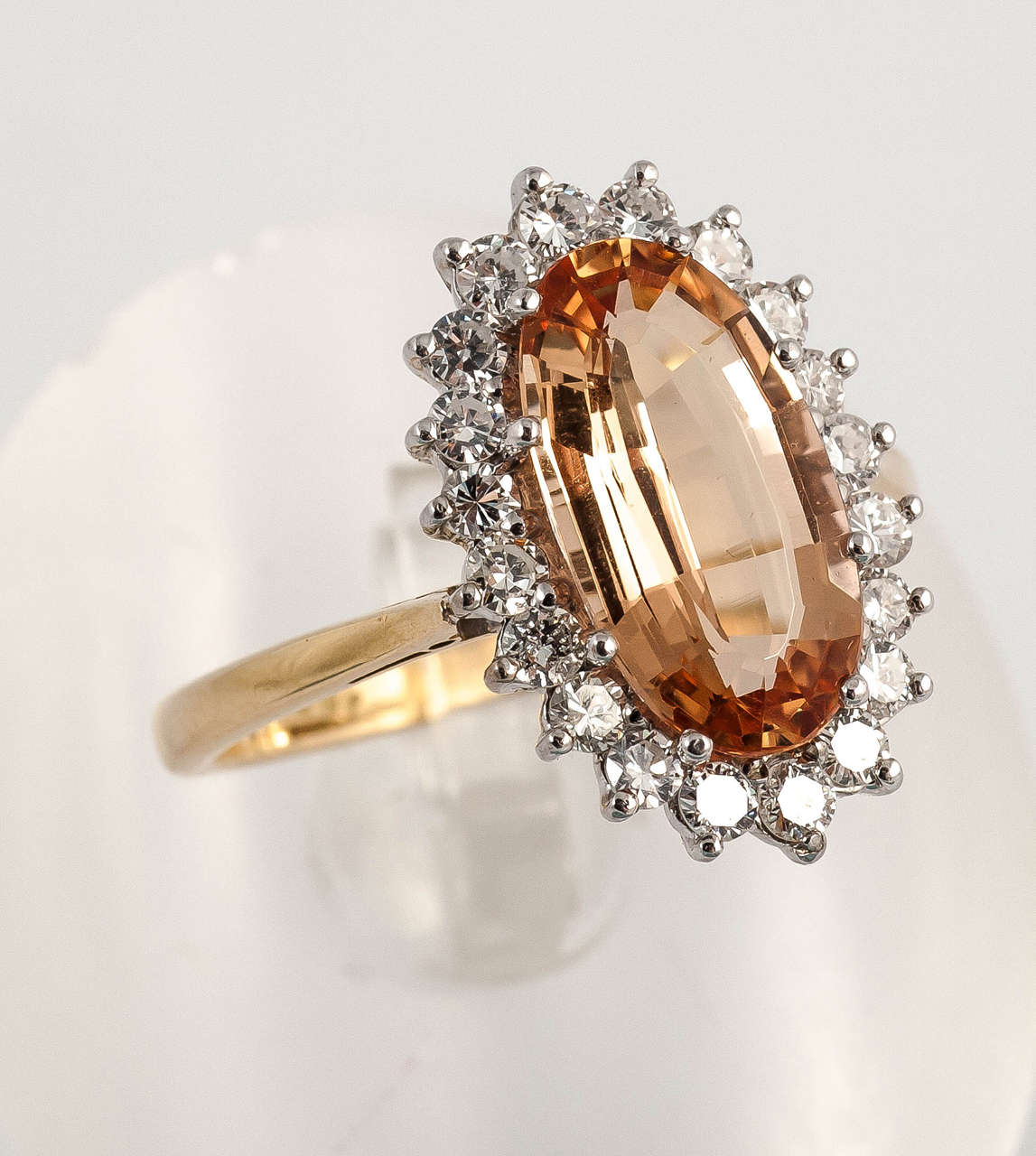 Women's Imperial Topaz Diamond Gold Cocktail Ring For Sale