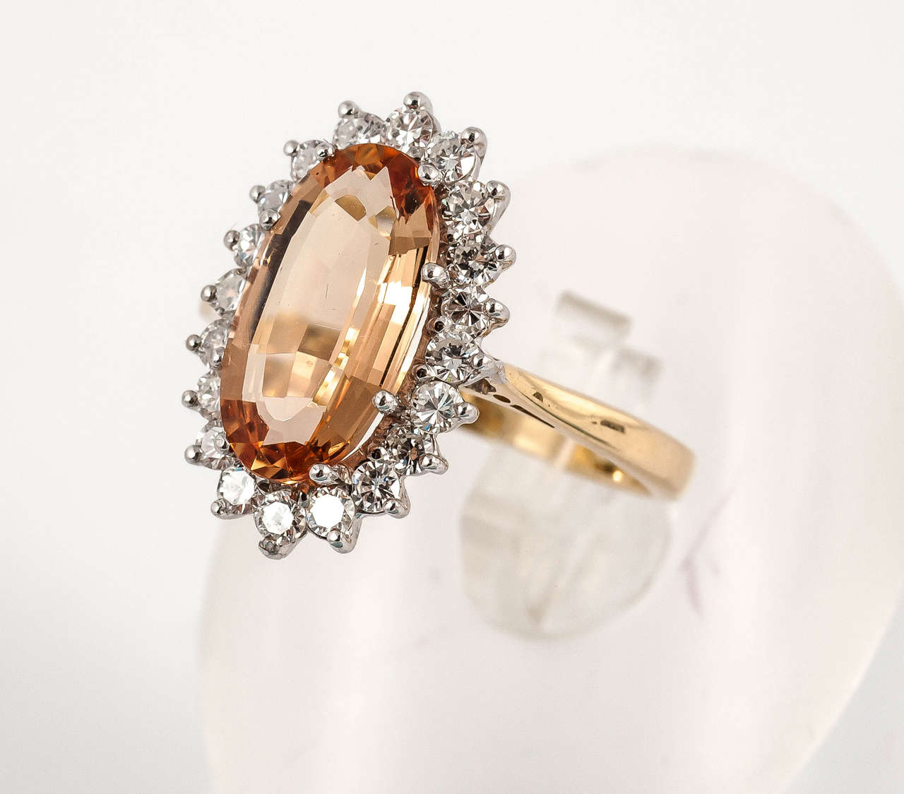 Imperial Topaz Diamond Gold Cocktail Ring For Sale 1