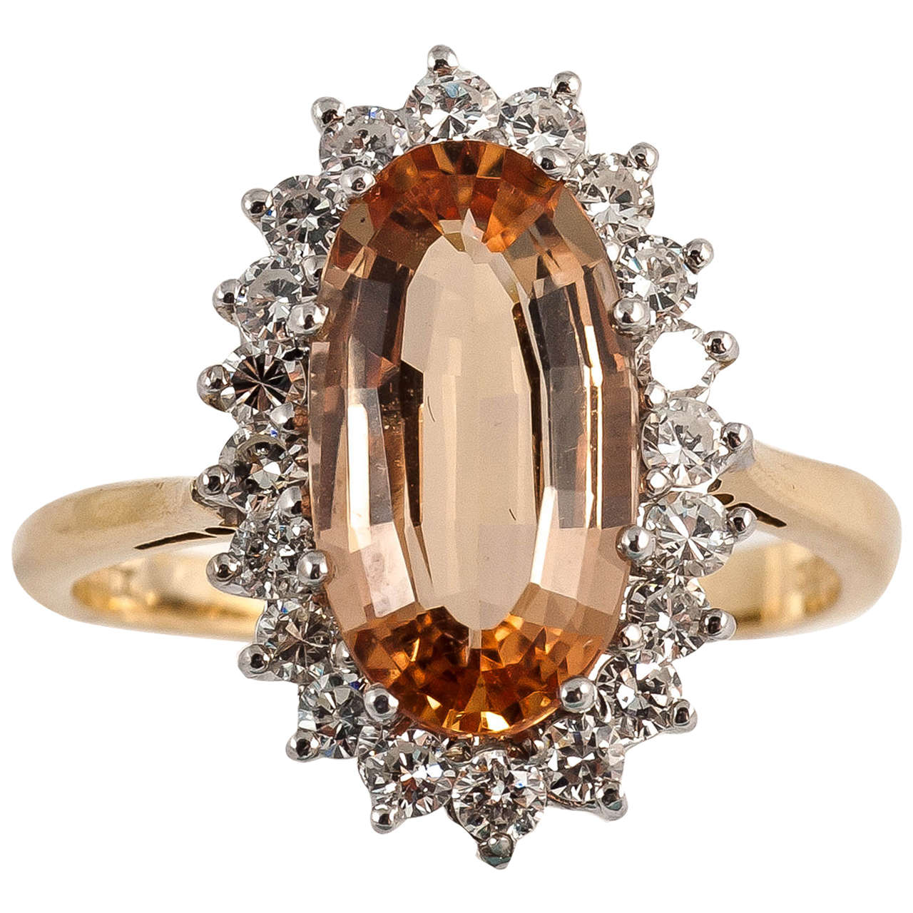 Imperial Topaz Diamond Gold Cocktail Ring For Sale